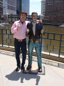 Scot and the Bronze Fonze on the Riverwalk in Milwaukee
